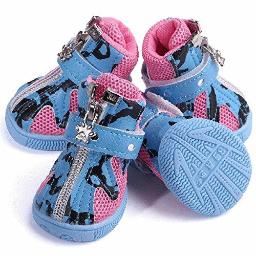 nikka(日華)犬靴 犬の靴 厚底 履かせやすい マジックテープ シューズ ブーツ 4個入り ブルー 2号サイズ