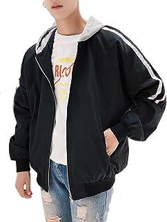 BeiBang(バイバン) メンズ スタジャン ゆったり ブルゾン フード付 ジャンパー 薄手 軽量 ジャケット 春服 アウター ストリート系