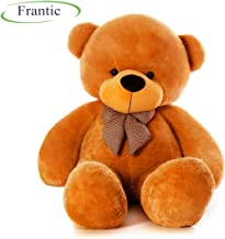 Frantic Premium Quality Soft Huggable Teddy Bear Plush Stuffed Toy with Neck Bow (Brown,3 Ft)