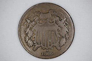 1865 Civil War Era Two-Cent Piece Full Readable Date (1 Coin) Historic Old US Type Coin Circulated Various Grades from Circulated to VG