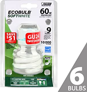 Feit Electric BPESL13T/GU24 BPESL13T/GU24/6 100-Watt Equivalent 13 Watt 800 Lumen Spiral Non-Dimmable Compact Flourescent Light Bulbs, 3.8