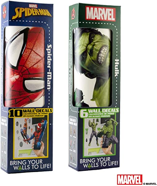 Marvel Spider Man Hulk Vinyl Stickers Augmented Reality Stickers For Kids Rooms Kids Wall Decals For Bedroom Are Easy To Put Up On Wall And Peel Off Best Bedroom D Cor Birthday Gift