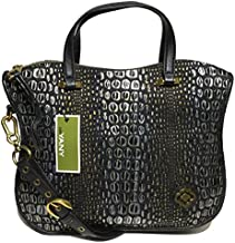 orYANY Woman's Leather Satchel, Embossed Black/Gold