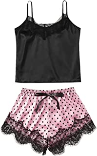 Women Two Piece Lingerie Set, Ladies Solid Sling Bra Underwear + Lace Underpants Pajama Set