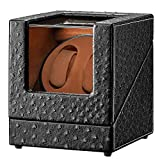 [Newly Upgraded] Double Watch Winder, Sepano Automatic Watch Winder with Quiet Motor,Premium Ostrich Leather Exterior and Soft Flexible Watch Pillows
