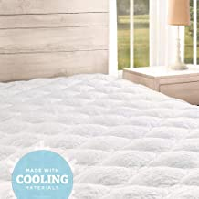 eLuxurySupply Cooling Mattress Pad with Fitted Skirt - Extra Plush Heat Extracting Topper - Made in The USA, King