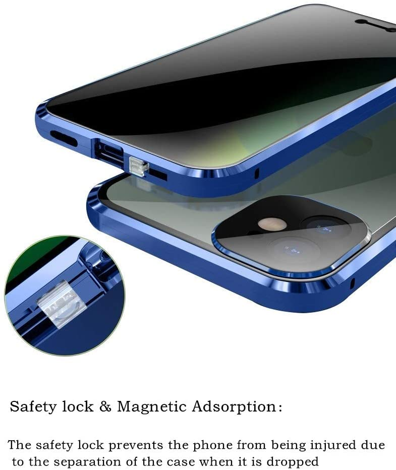 Safety Lock + Magnetic adsorption Galaxy S21 Ultra case Double-Sided Tempered Glass Shockproof Aluminum Bumper Clear Glass Cover for Galaxy S21 Ultra 6.8 inch 2021 (Galaxy S21Ultra, Blue)