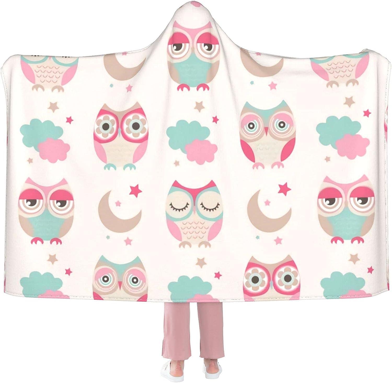 Owl Bird San Antonio Mall Pattern Hooded Wearable Blanket Award Th Warm
