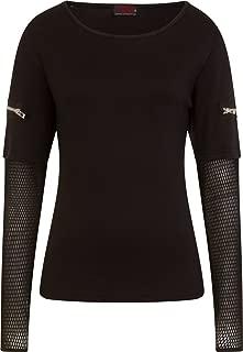 Womens - Metal Streetwear - Mesh Sleeve Zip Shoulder Long Sleeve Ladies