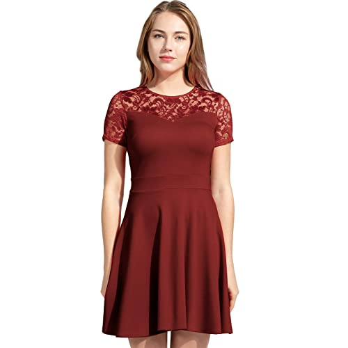 55479335a57 Sylvestidoso Women s A-Line Pleated Short Sleeve Little Cocktail Party Dress  with Floral Lace