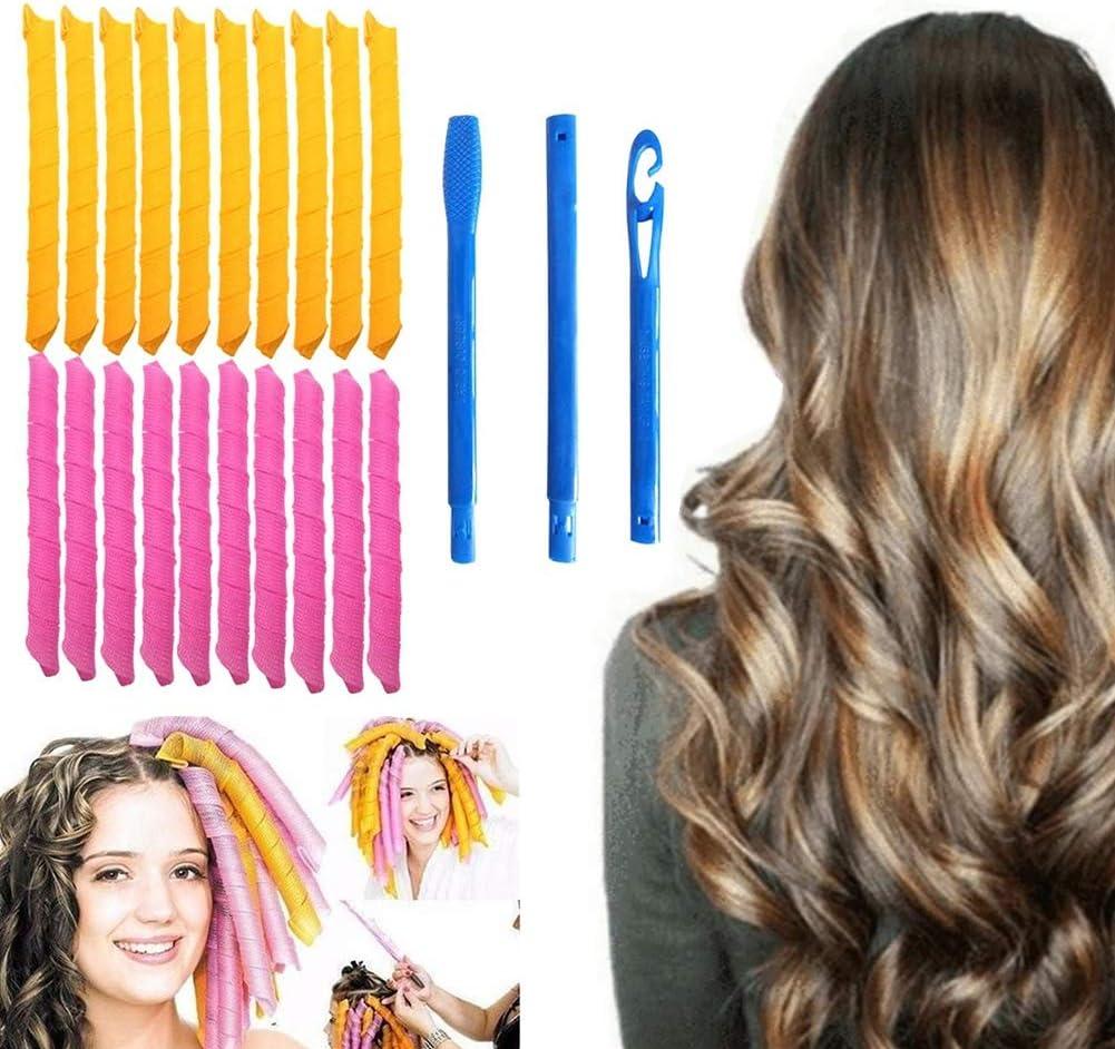 Rulos rizadores de pelo 21 unidades, kit de estilismo en espiral, 18 rizadores de pelo sin calor y 3 ganchos, pelo extralargo de hasta 55 cm de longitud, para mujeres y niñas (21 unidades)