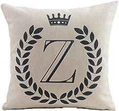 (46cm x 46cm, Z) - HYSENM Alphabet Series 26 Letters 46cm x 46cm Cotton Linen Home Sofa Chair Car Bed Decor Throw Pillow C...
