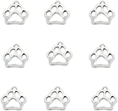 80pcs Vintage Antique Silver Alloy Animal Bear&Cat&Dog Paw Charms Pendant Jewelry Findings for Jewelry Making Necklace Bracelet DIY 19x17mm (80pcs Dog Paw)