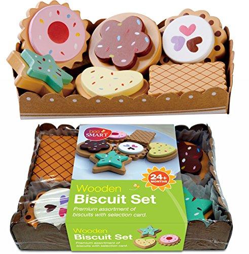 Alimento de juguete, Selección de 6 Galletas de Madera, 6 galletas con la selección y cartón resistente bandeja de papel