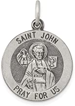 925 Sterling Silver Saint John Medal Pendant Charm Necklace Religious Patron St Fine Jewelry Gifts For Women For Her