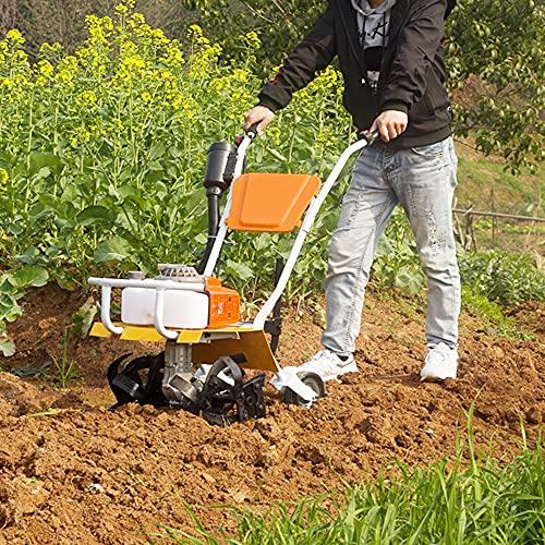 AAGYJ 2,2 kW Motorhacken, Grubber für Benzinfräsen, 2-Takt-Benzinmotorhacke, Akku-Rasen-Vertikutierer mit 4 Pinnenblättern, idealer Gartenfräsen-Rotavator für Bodenlockerung