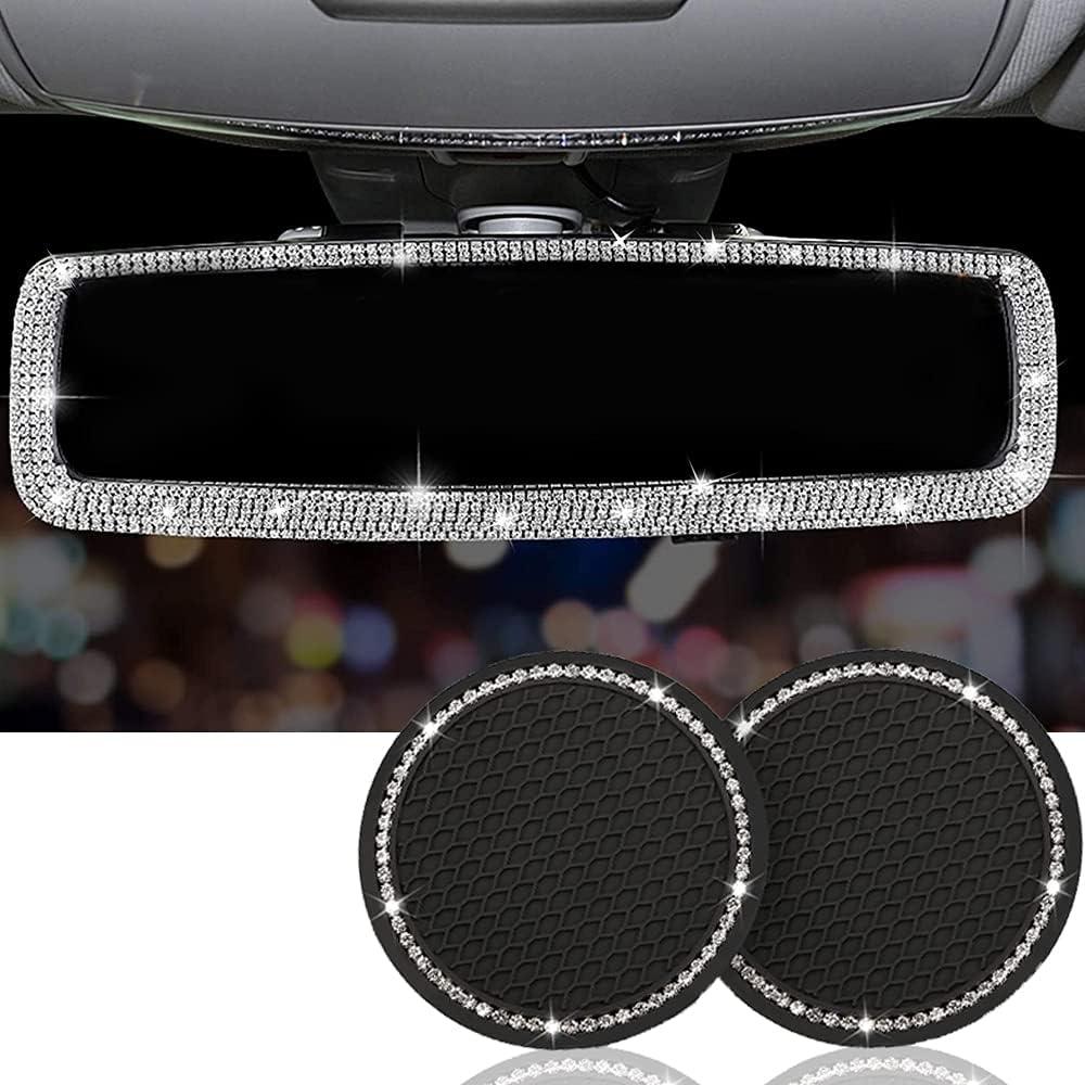 Bling Car Rear View Mirror Rhinestone Max Excellent 78% OFF Women Rhin Accessories