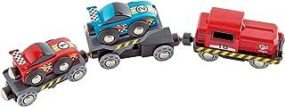 Hape Race Car Transporter   Six-Piece Wooden Toy Train Car Transport Set for Kids Multicolor, L: 11, W: 2, H: 1.5 inch