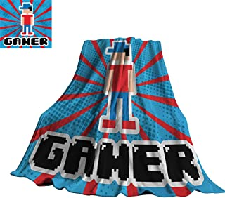 Video Games,Soft Blankets Blue and Red Striped Boom Beams Retro 90s Toys Boy with Cap Blanket for Bed Couch 50