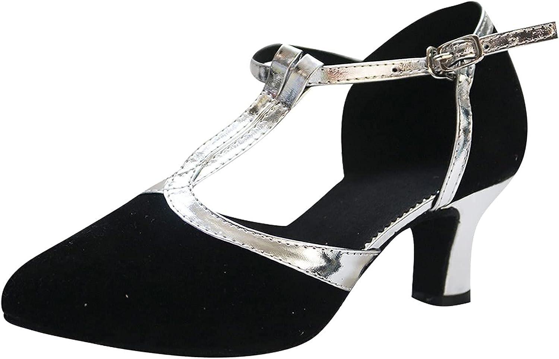 Shije Women's Ballroom Tango Latin Dancing Shoes Social Dance Shoe Dress Heeled Sandals Heels Party Wedding Shoes