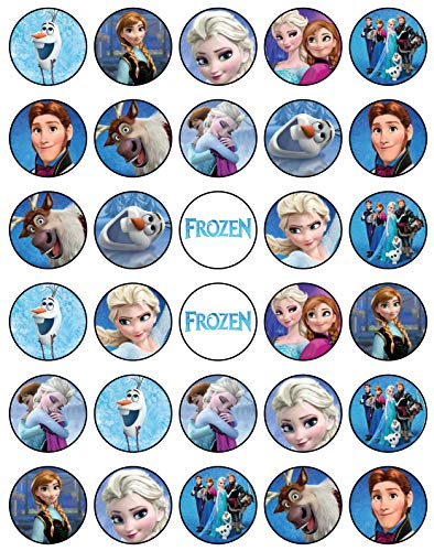 30 x Edible Cupcake Toppers Themed of Frozen Collection of Edible Cake Decorations | Edible Sugar Paper