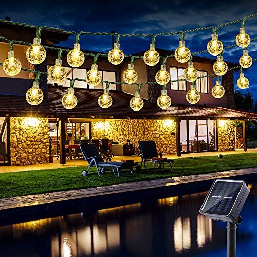 Solar Lichterkette Aussen 30 LED Kugeln Lichterkette 4.5M Kristall Warmweiß, BrizLabs 8 Modi Außenlichterkette Wasserdicht Kristallbälle Beleuchtung für Garten Terrasse Bäume Hof Haus Party Deko