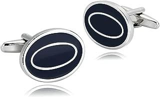 Cufflinks for Men Stainless Steel Cuffs Double Ovals Shirt Dress Suit Retro Retro 2.1X1.6CM