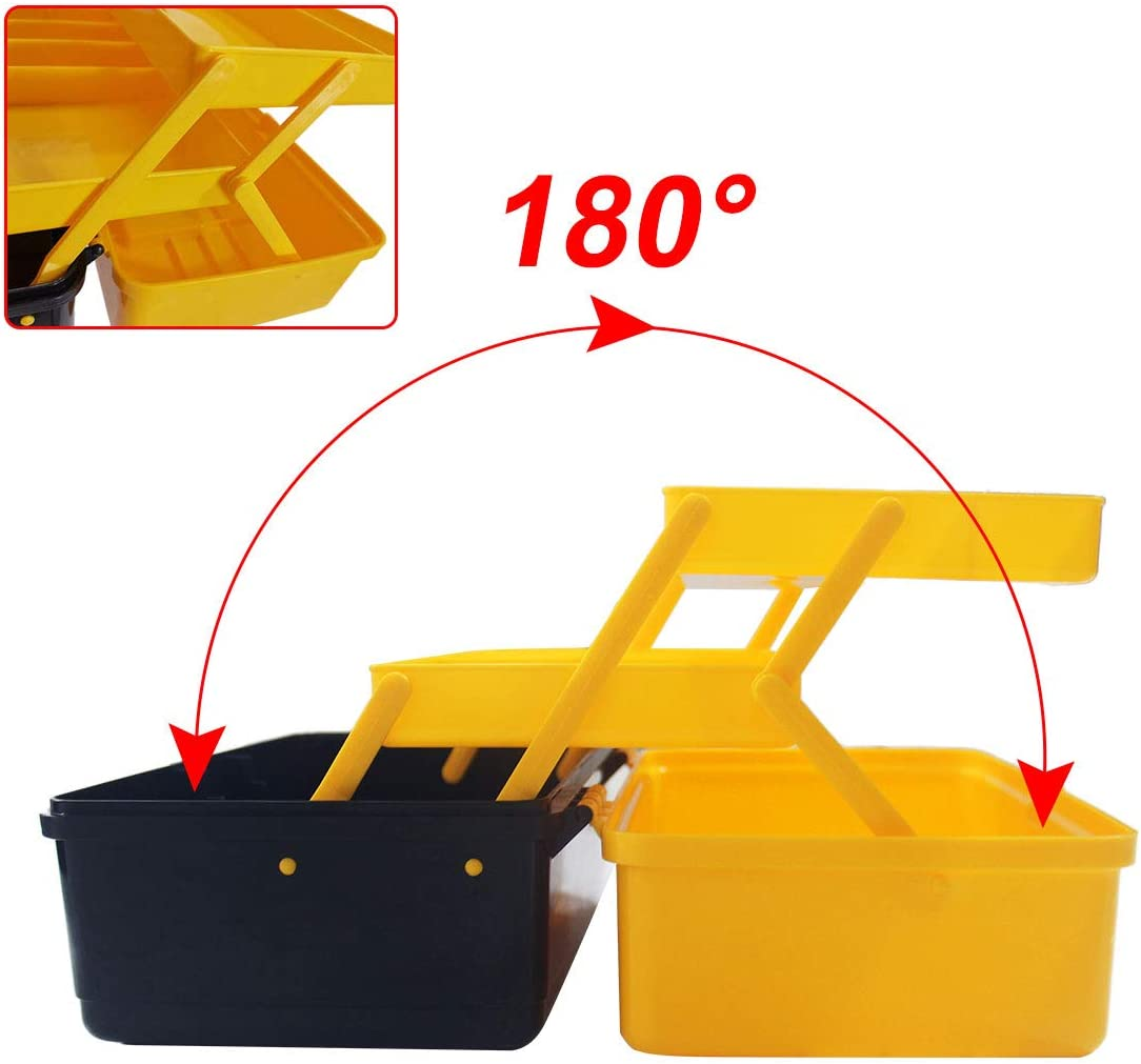 WEWLINE Portable Multi-function Tool Box Plastic Toolbox with Organizer Tray and Divider,Household Folding Three-layer Tools Box Organizer