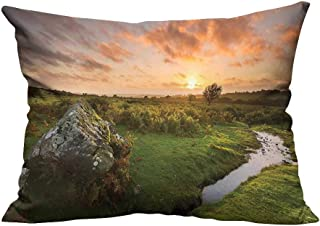 YouXianHome Pillowcase with Zipper British Rural Countryside Rock Stream UK High L Image Peach Olive Ultra Soft & Hypoallergenic (Double-Sided Printing) 19.5x54 inch