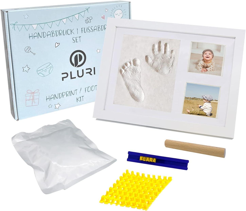 PLURI Premium Set de Marco Para Manos y Huellas de bebé para niño y niña, molde de yeso mano pie-s con marco de fotos, kit de huella de bebe de regalo para nacimiento de recién nacidos