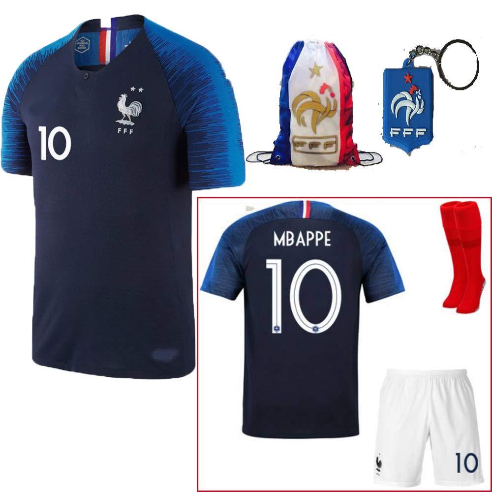 2018 France Antoine Griezmann #7 Kylian MBAPPE #10 Home Blue Kids Soccer Football Jersey Socks Shorts Youth Sizes