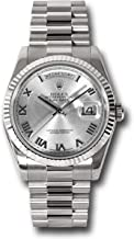 Rolex Oyster Perpetual Day-Date 36MM 18K White Gold Case, Fluted Bezel, Rhodium Dial, Roman Numeral, and President Bracelet.