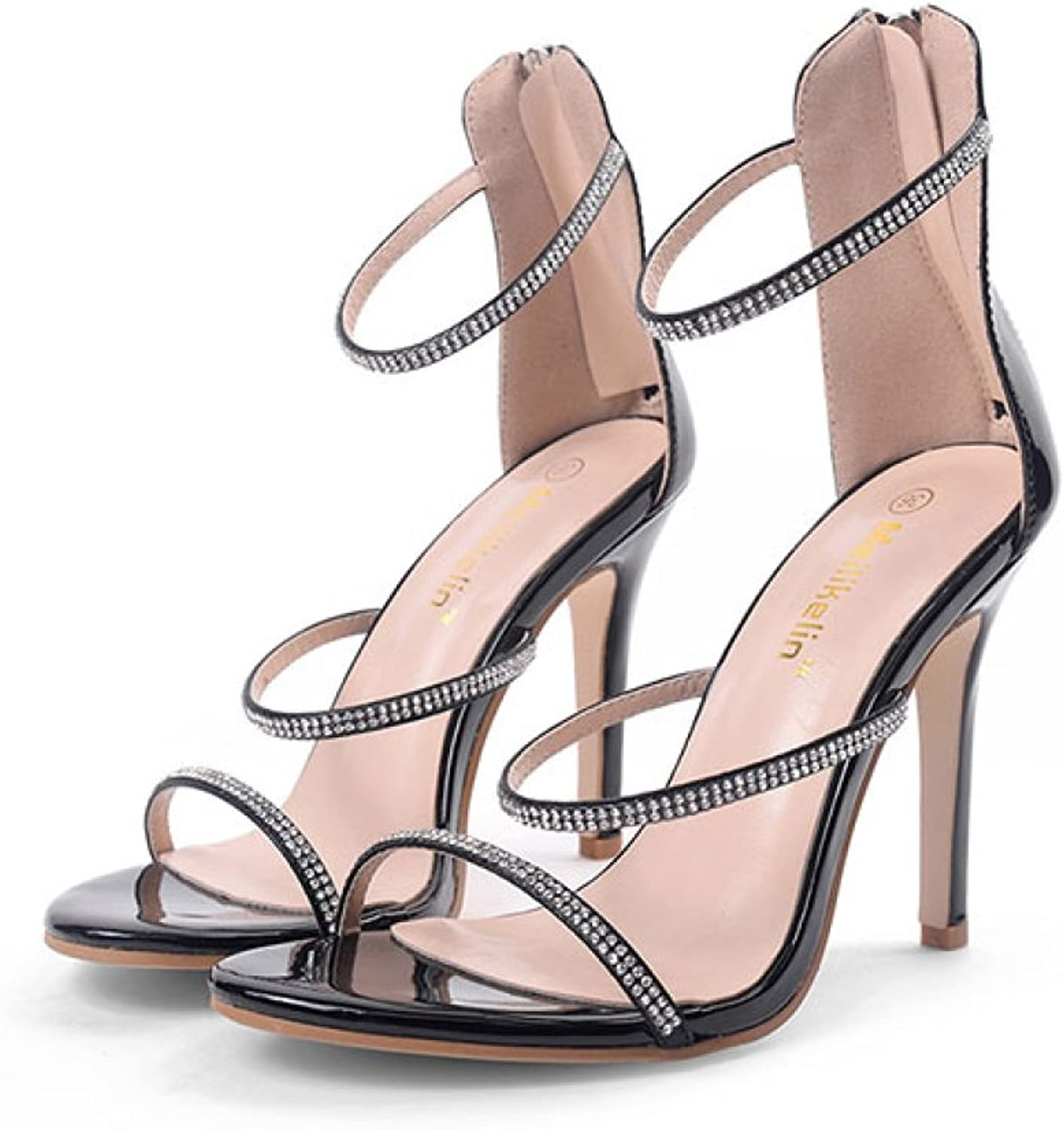 Womens Stiletto High Heels Sexy Ankle Strap Sandals Ladies Summer Rhinestone Peep Toe shoes Party Prom Strappy Pumps,Black-EU35 225