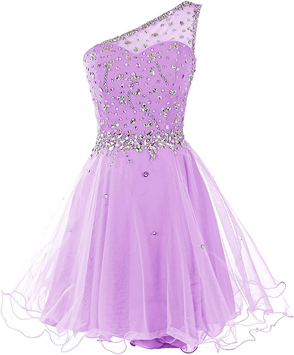 YanLian Short One Shoulder Prom Dresses Tulle Homecoming Dress with Beads YL101