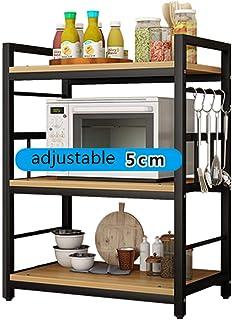 ZXKS Étagère de cuisine, support de rangement au sol pliable multicouche en acier inoxydable, forte capacité de charge, ut...