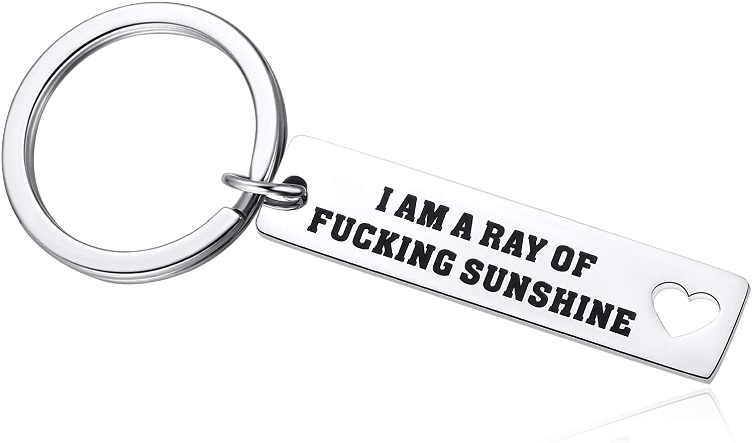 I'm A Ray of Fucking Sunshine Keychain Motivational Inspired Quotes Funny Sarcastic Birthday Present for Women Men Coworker Friends