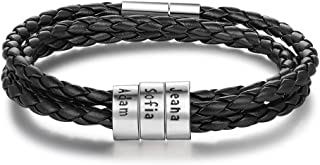 Personalized Mens Leather Bracelet with 2-5 Custom Beads Braid Black Name Charm Bracelet for Men with Family Names