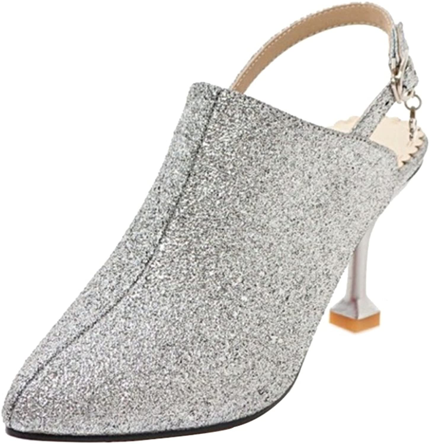 CuteFlats Women Bling Sandals with Pointed Toe and Cone Toe