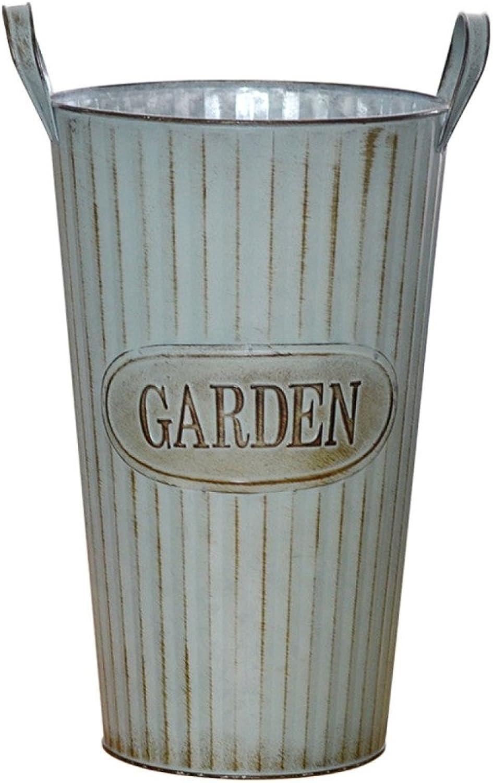 LDFN Umbrella Stand European Garden Office Multifunctional Decorative Flower Wrought Iron Storage Bucket,A-25  39cm