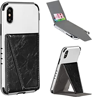BIBERCAS Phone Card Holder with Stand,Adhesive Stick On Credit Card Slot, Leather Wallet Case with Kickstand for iPhone Android Universal Smartphones-Black