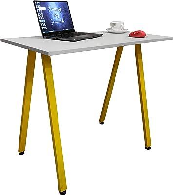Savya home® Multifunction Wooden Table (900 * 480 WFH Table, Yellow-Grey)