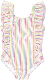 RuffleButts Little Girls Rainbow Stripe Waterfall One Piece - 4T