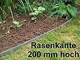 Grünberger Metallbau Rasenkanten aus Edelstahl, V2A, 200 mm hoch, Beeteinfassung, 4er Set