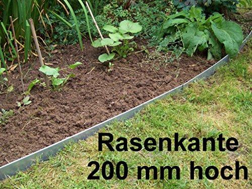Rasenkanten aus Edelstahl, V2A, 200 mm hoch, Beeteinfassung, 10er Set
