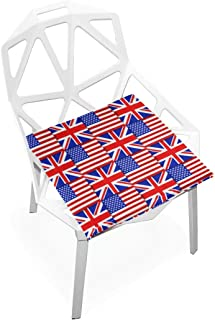 Pingshoes Seat Cushion USA and UK Flag Chair Cushion Offices Butt Chair Pads Square Wheelchairs Mat for Computer