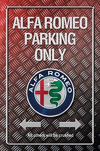 Deko7 Blechschild 30 x 20 cm Alfa Romeo Parking Only