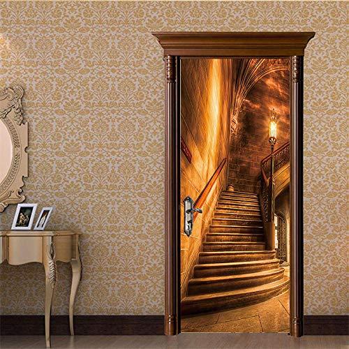 Adhesivo Decorativo Para Puerta 3Dretro Escalera De Caracol