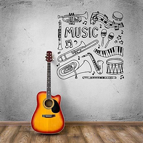 BJWQTY Wandaufkleber verschiedene Musikinstrumente Wandaufkleber Trommel Tisch Musikstudio dekorative Musikinstrument Design Wandaufkleber 57x57cm