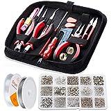 WinWonder 17 piezas de fabricación de joyas, herramientas de hallazgos de joyería con 2 rollos de poliéster elástico Strester Cord cordón de cristal y 750 piezas de joyería para hacer joyas