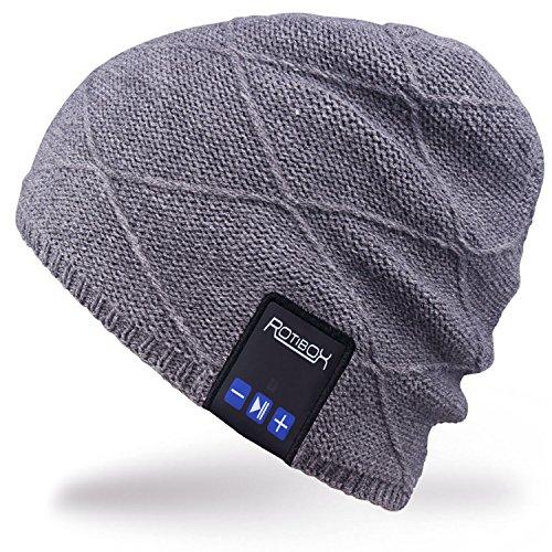 Rotibox Männer Frauen Bluetooth Musik Beanie Hut Cap Ohrwärmer mit Stereo Lautsprecher Kopfhörer Mic Hands Free und wiederaufladbare Akku für...